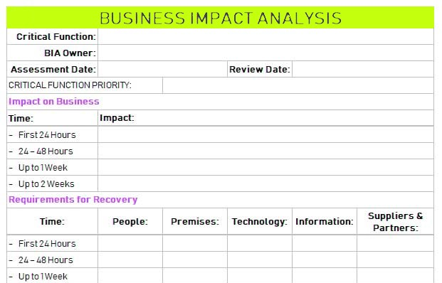 Business Impact analysis excel