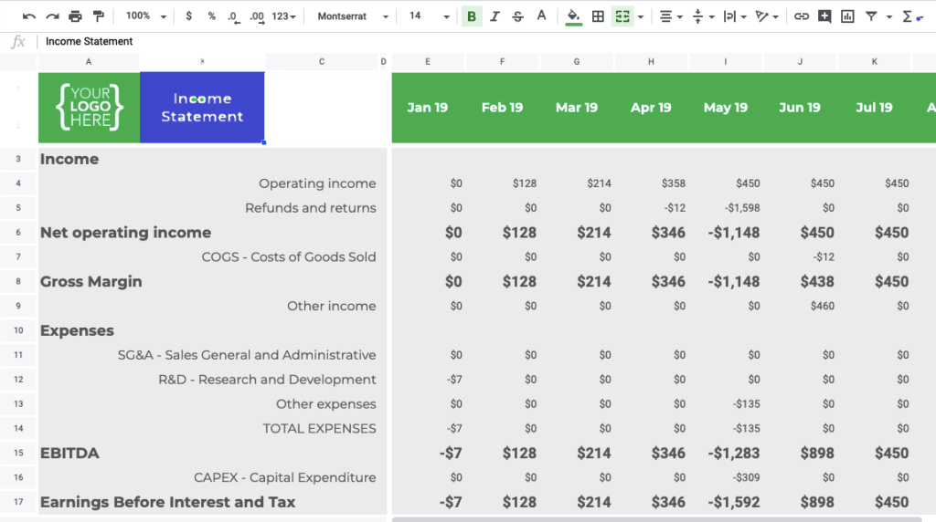 Income Statement Templat